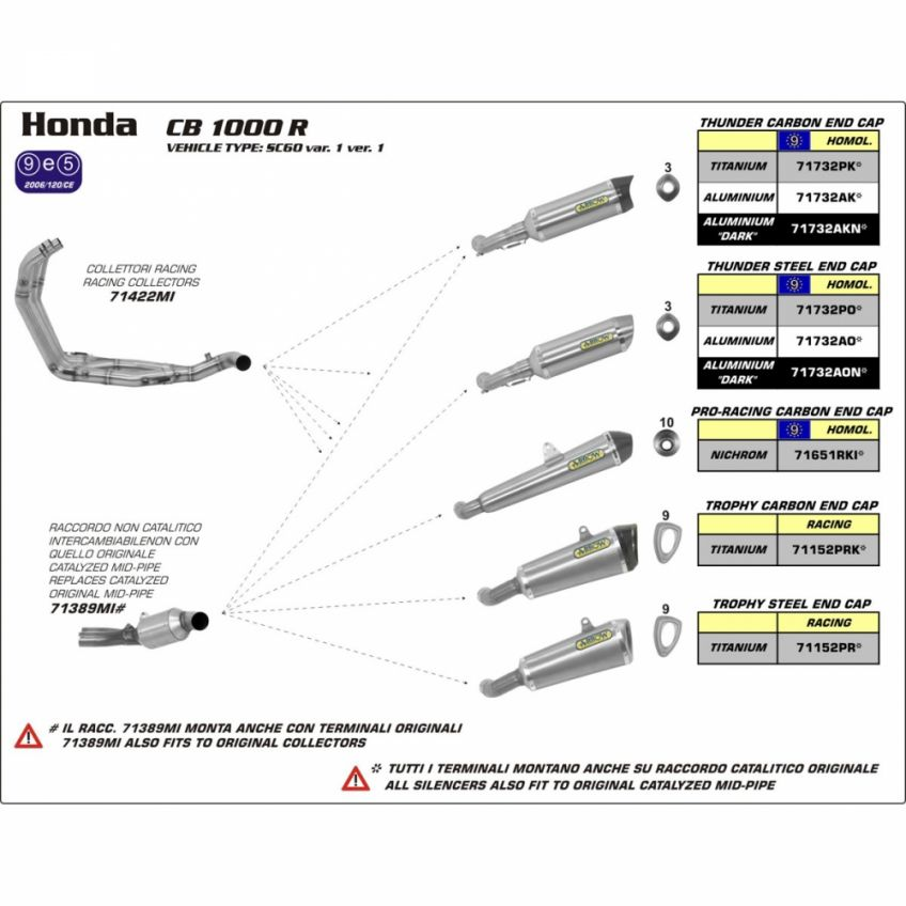 Honda CB1000R 08-13 ARROW Road approved Dark Line aluminium / carbon silencer