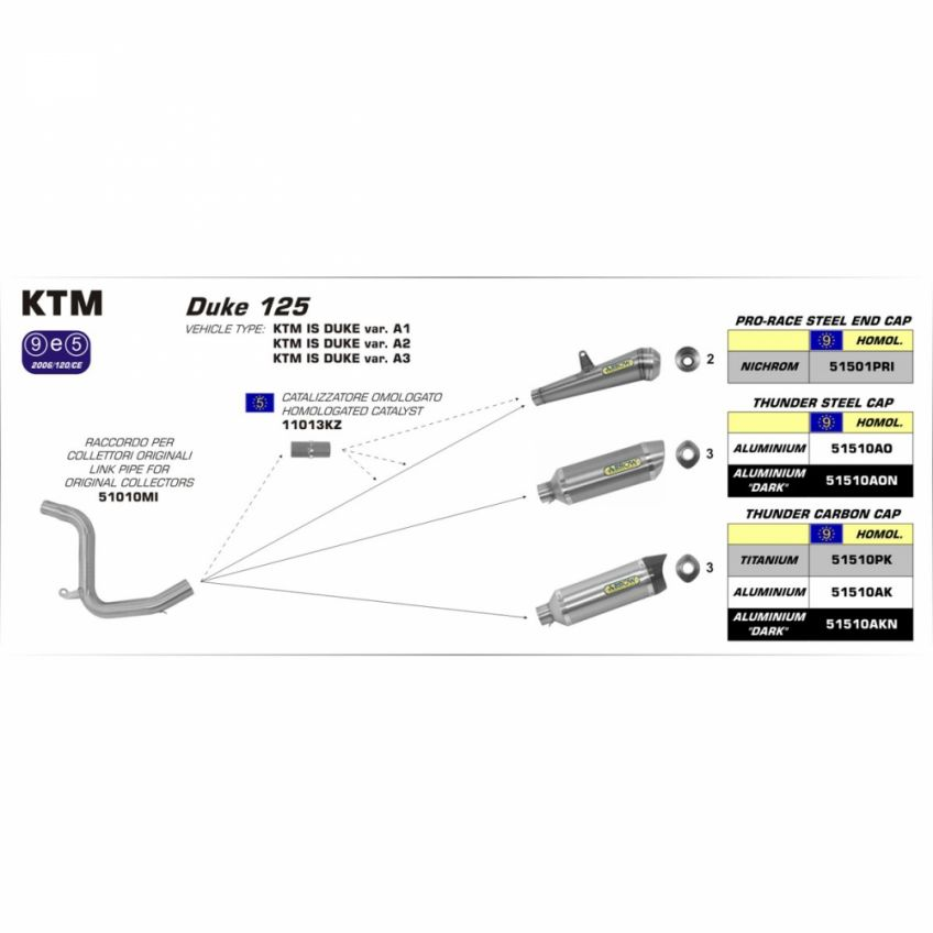KTM 125 Duke KTM DUKE 125 2017 ARROW Catalytic converter kit