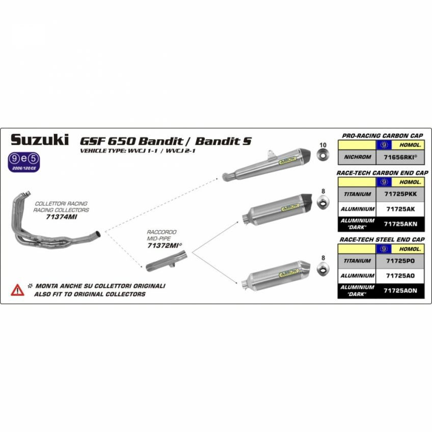 Suzuki GSF650 Bandit 07-13 ARROW Full system with road approved oval titanium silencer