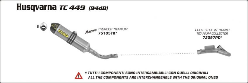 HUSQVARNA TC449 2011 ARROW Stainless steel colector to fit with Arrow or original silencer