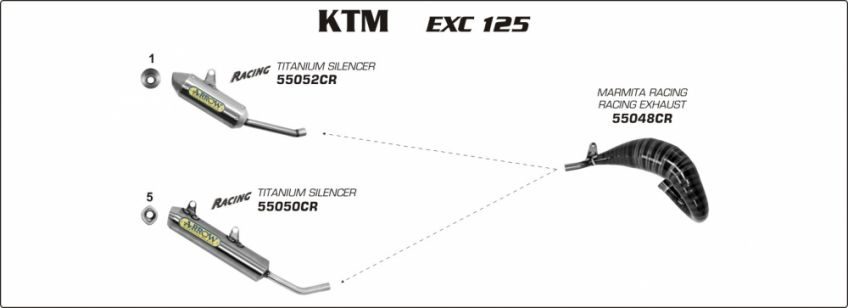 KTM 125 EXC  08-12 ARROW Race exhaust to fit with Arrow or original silencer