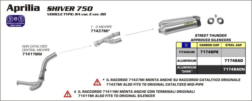 Aprilia Shiver 750 10-13 ARROW 2 into 1 stainless steel mid-pipe