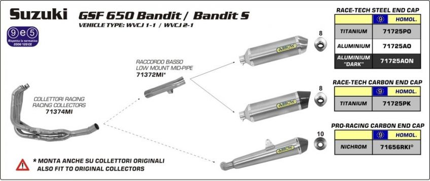 Suzuki GSF650 Bandit 07-13 ARROW Slide on road approved oval aluminium/carbon silencer